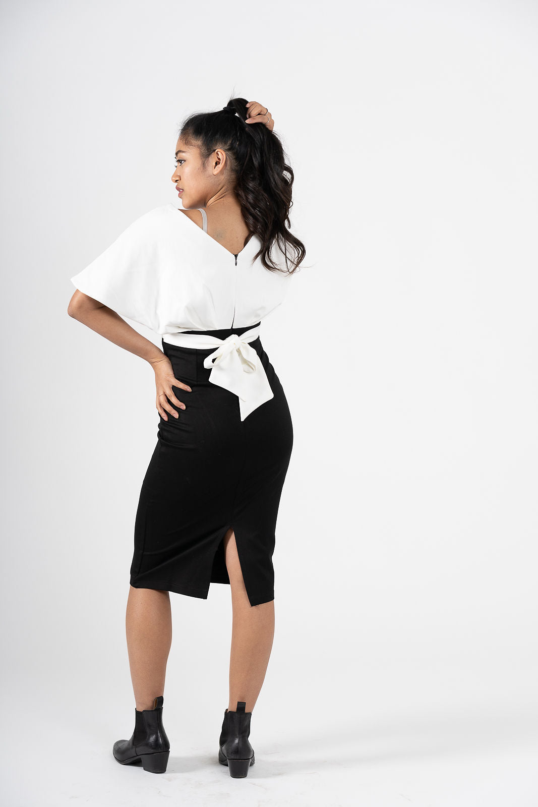 Confiante Black & White Bell Sleeve Pencil Dress