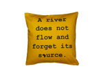 Yoruba Proverb Art Cushion: 'A river does not flow and forgets its source'