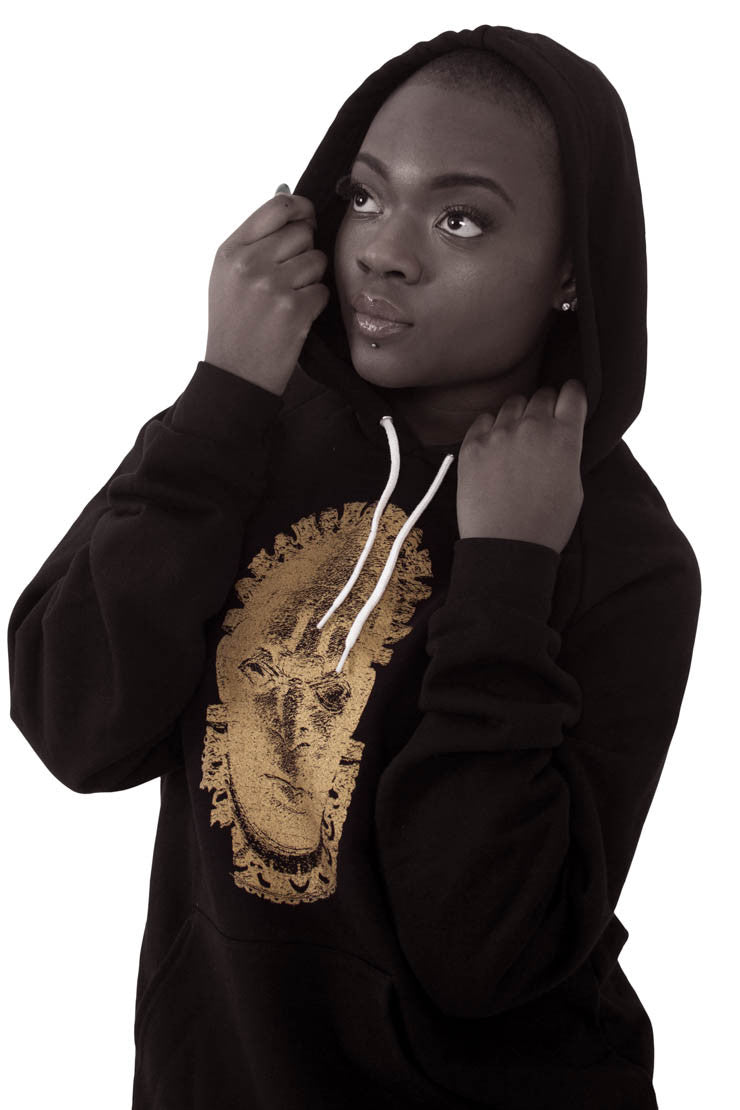 Iyoba Idia Mask Logo Hooded Unisex Sweatshirt  (Black/Gold)