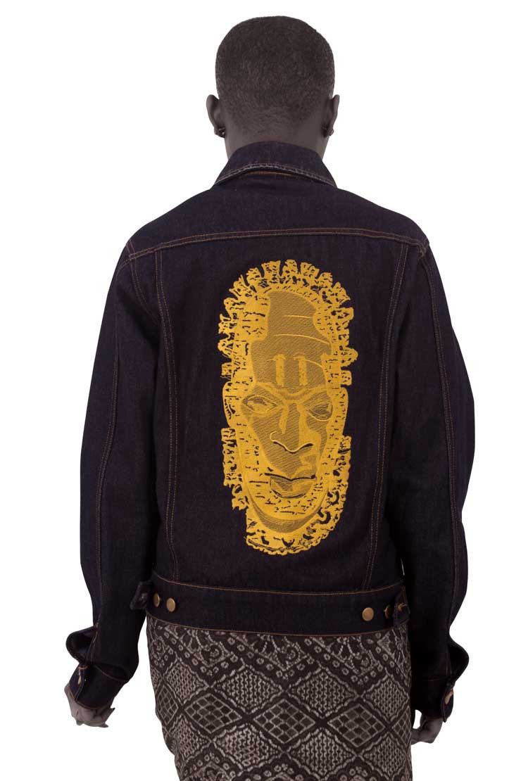 Denim jacket  featuring embroidered image of Iyoba Idia. African