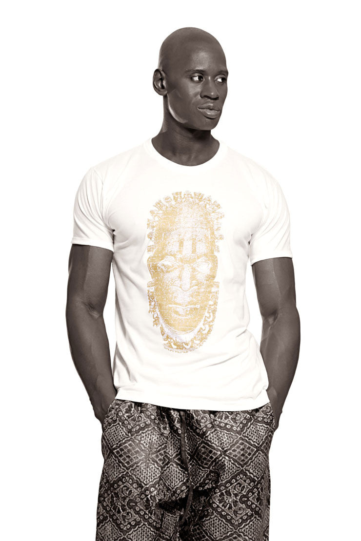 Iyoba Idia Mask (large logo) T-shirt  (White/Gold) Mens