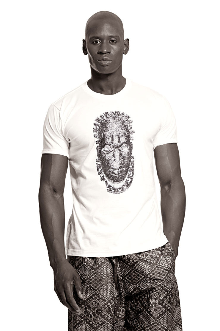 Iyoba Idia Mask T-shirt  (White/Black) Mens