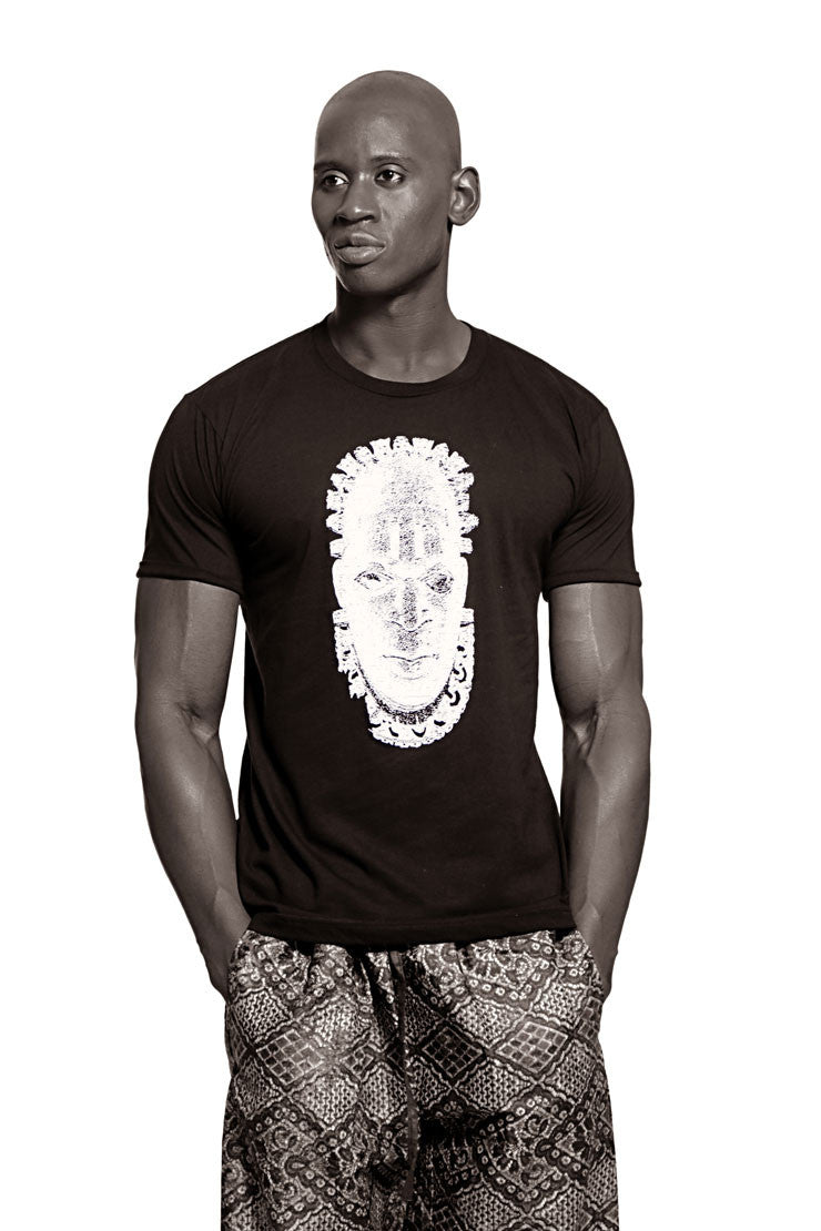 Iyoba Idia Mask T-shirt  (Black/White) Mens