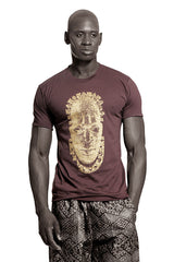 Iyoba Idia Mask T-shirt  (Brown/Gold) Mens