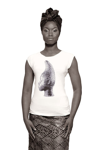 Iyoba Idia Profile T-shirt (White/Black) Womens
