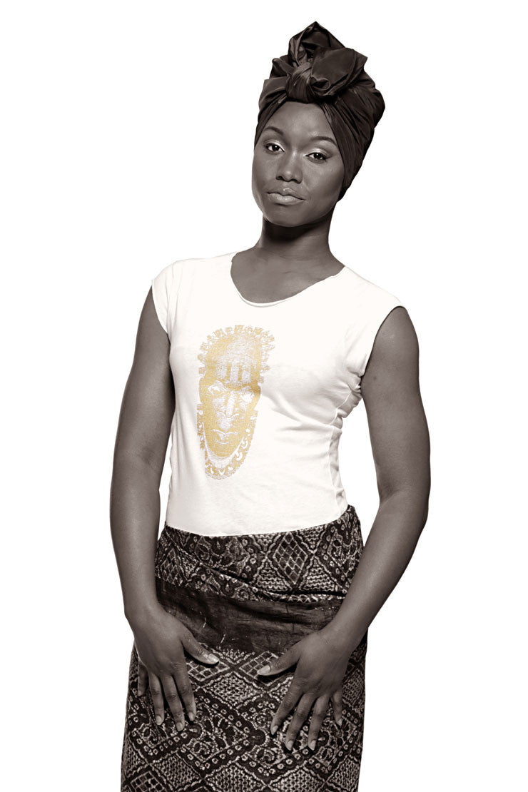 Iyoba Idia Mask T-shirt (White/Gold) Womens