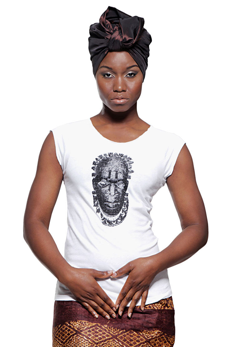 Iyoba Idia Mask T-shirt (White/Black) Womens