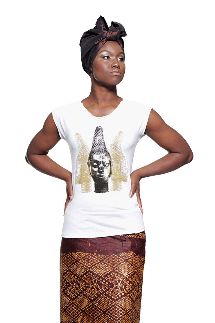 Iyoba Idia Trio T-shirt (White/Gold/Black) Womens