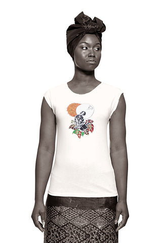 Black Madonna (Life Force) T-shirt (White) Womens