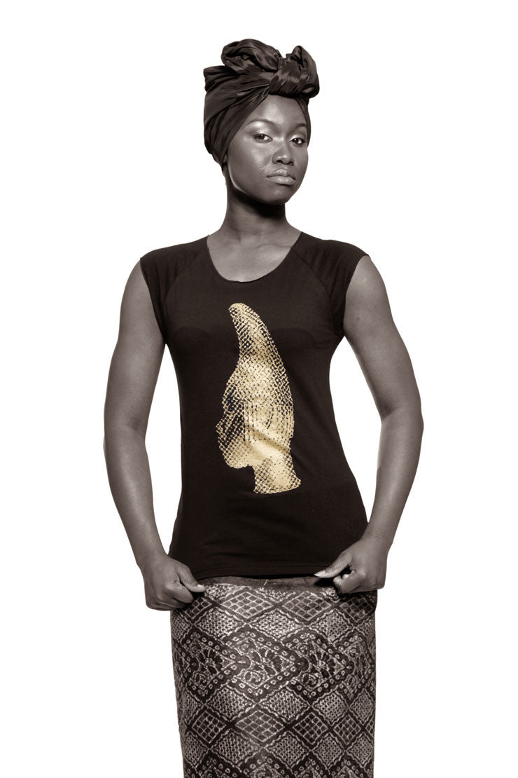 Iyoba Idia Profile T-shirt (Black/Gold) Womens