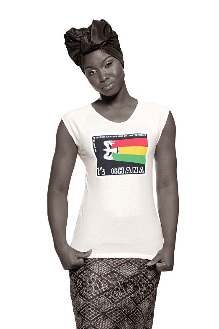 Ghana Independence T-shirt (White) Womens