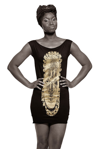 Iyoba Idia Mask T-Dress (Black/Vintage Gold) Womens