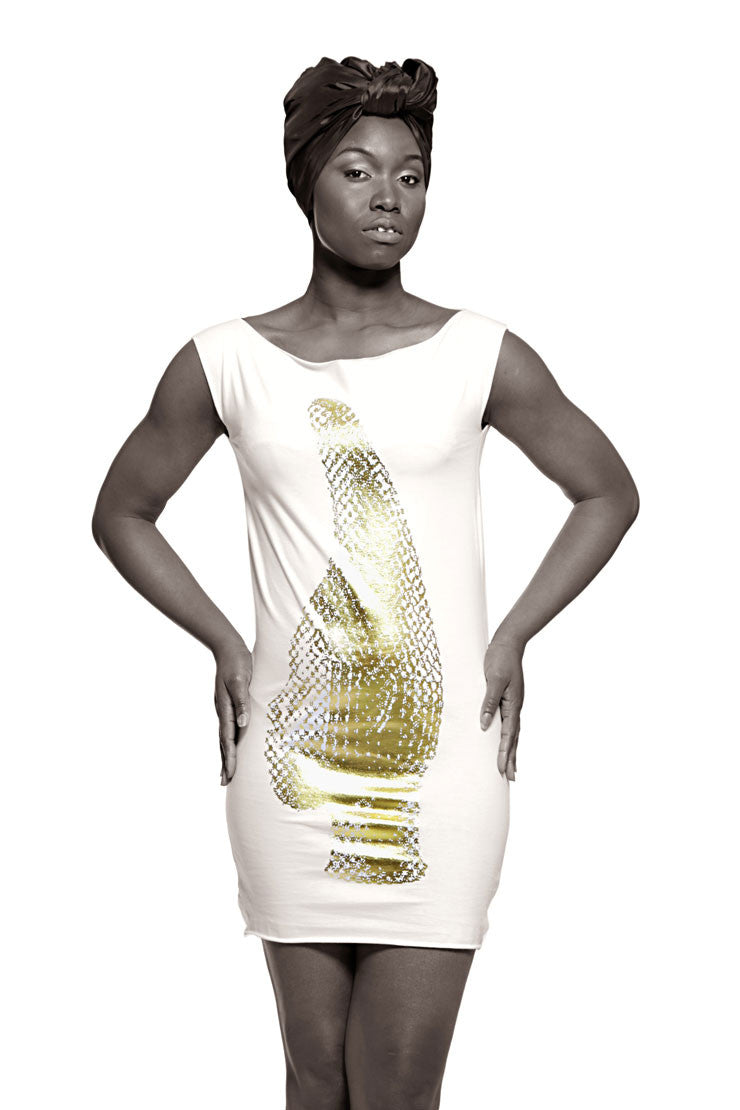 Iyoba Idia Profile T-Dress (White/Gold Foil) Womens