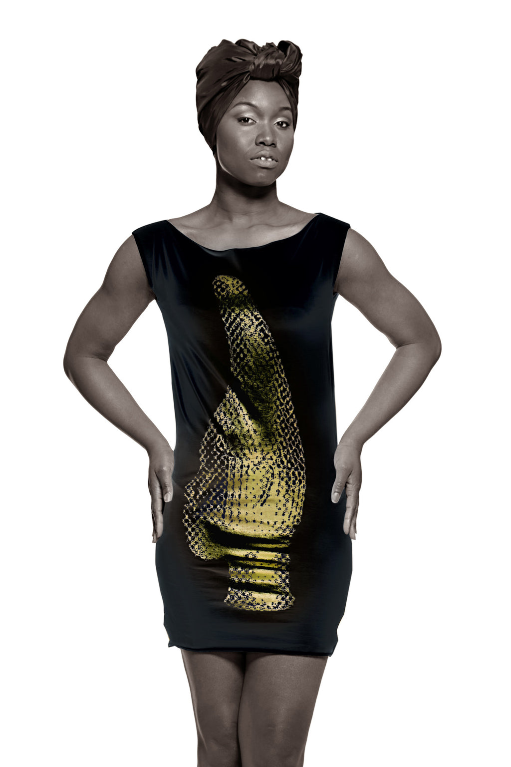 Iyoba Idia Profile T-Dress (Black/Gold Foil) Womens