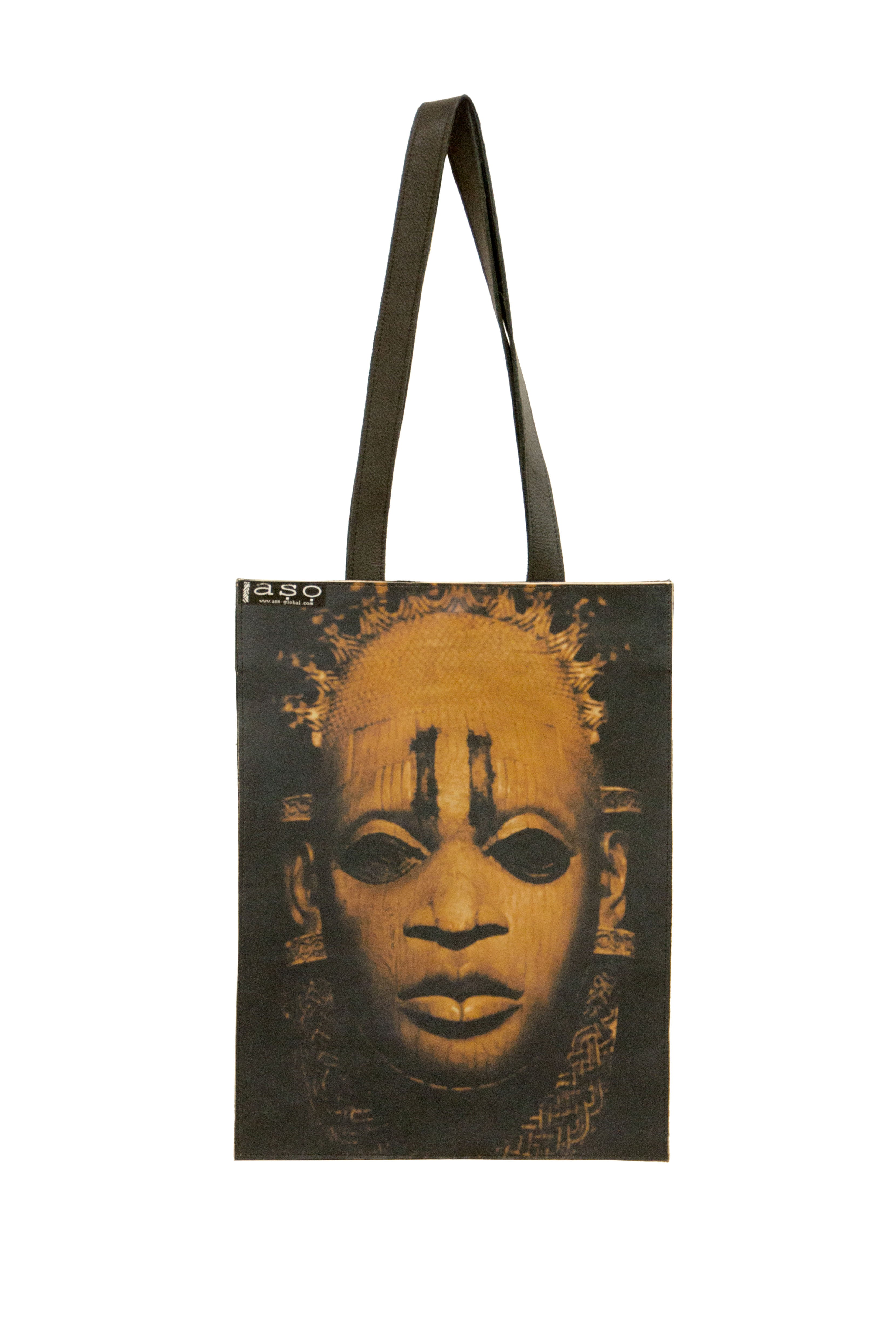 Iyoba Idia Leather Shopper (Hand-Crafted)  (with gusset)