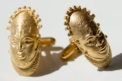 Iyoba Idia Cuff-Links - Gold Plated
