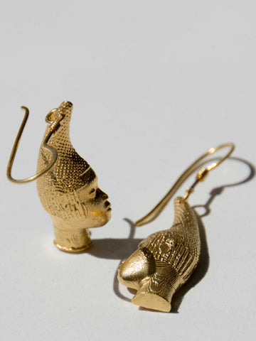 Iyoba Idia Profile Drop Earrings (Gold Plated)