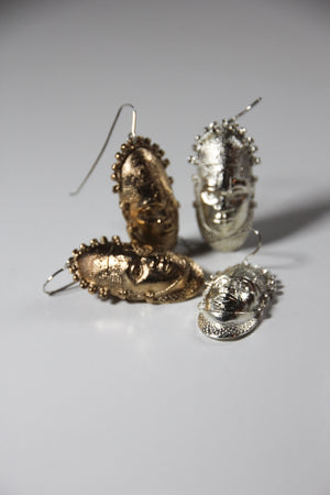 Special Edition Iyoba Idia Mask Drop Earrings (Bronze)
