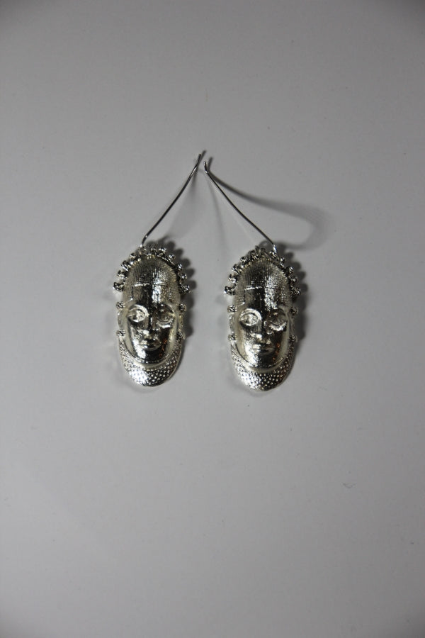 Special Edition Iyoba Idia Mask Drop Earrings (Sterling Silver)