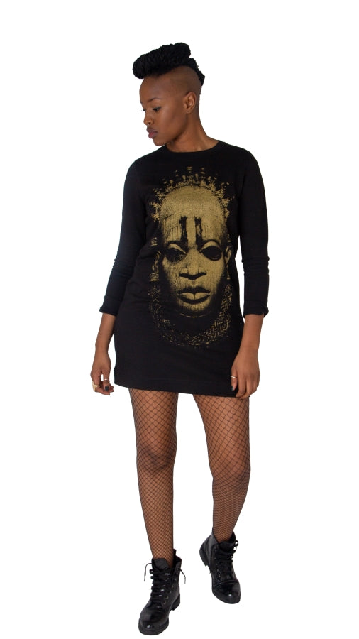 Iyoba Idia Women's Sweater Dress (Black / Gold)