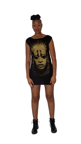 "Iyoba Idia Mask ""Shadow"" T-Shirt Dress MK II (Ivory Mask)"