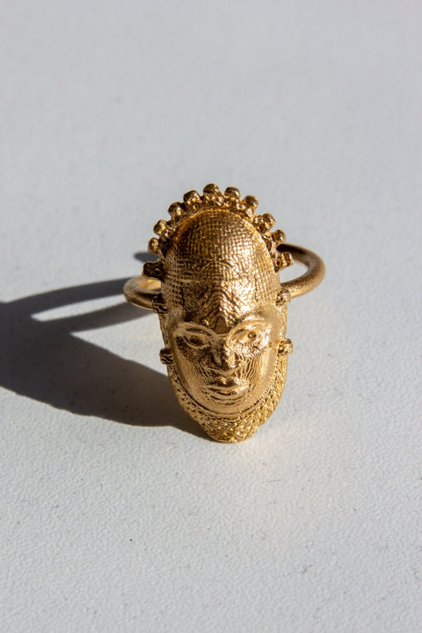 Iyoba Idia Ring (Small) - Bronze (Unisex and Adjustable) African Jewelery