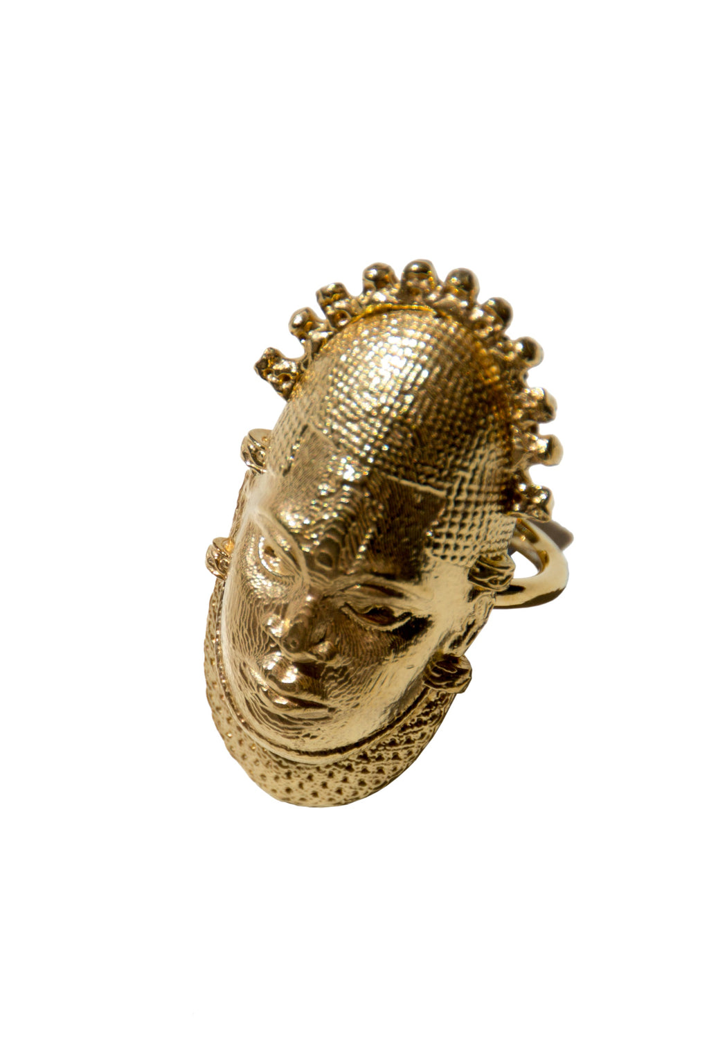 Iyoba Idia Mask Ring - Gold-Plated Bronze (Unisex and Adjustable)