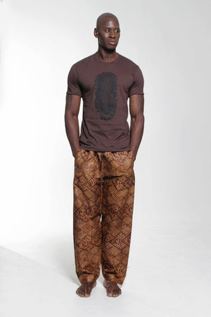 Iyoba Idia Mask T-shirt  (Brown/Black) Mens