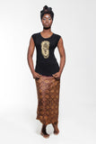 Iyoba Idia Mask T-shirt (Black/Gold) Womens