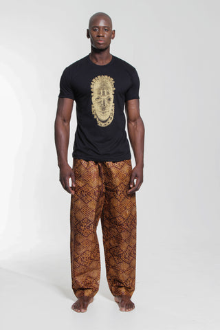 Iyoba Idia Mask T-shirt  (Black/Gold) Mens