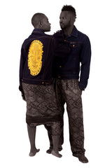 Denim jacket  featuring embroidered image of Iyoba Idia. African Fashion style