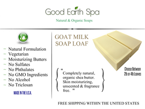Goat Milk Soap Loaf 2lb, 4lb, 8lb, 12lb Fragrance Free Organic Shea Butter NEW