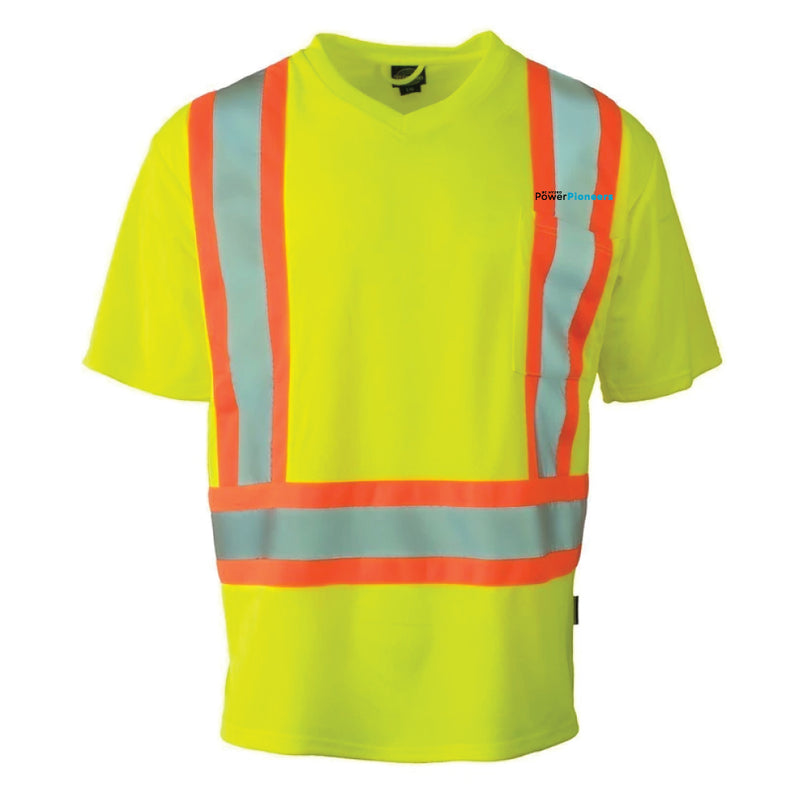 Hi Vis V-Neck Short Sleeve Safety T-Shirt