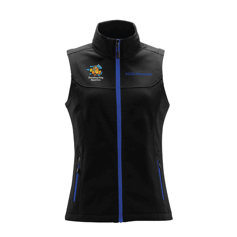 Stormtech™ Women's Orbiter Softshell Vest - Black/Azure Blue (Aquarium Team)