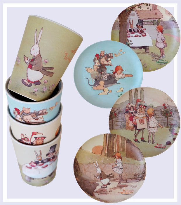 Bamboo Gift Set - Alice in Wonderland Bamboo Plates with Drinking Cups Set | Young Spirit Australia