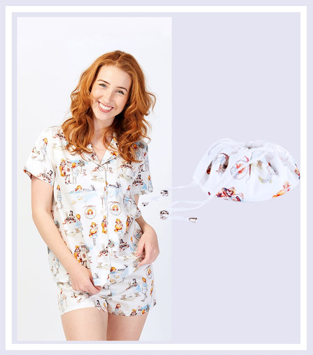 Alice in Wonderland Shortie Pyjama Set & Drawstring Bag Gift Set