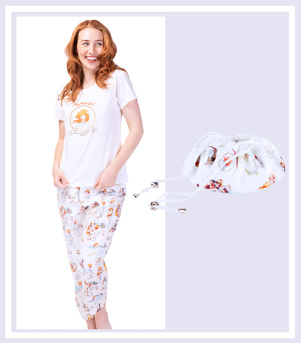 Alice in Wonderland T-shirt with 3/4 Pant & Drawstring Bag Gift Set