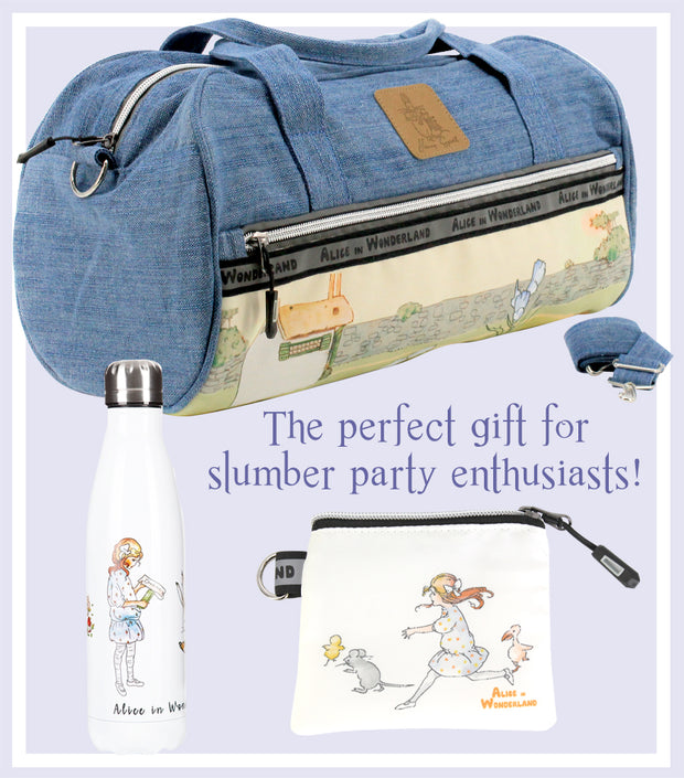 Alice Denim Carry On Duffle Bag and Drink Bottle with Jewellery Purse Gift Set