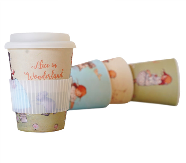Alice in Wonderland Reusable Bamboo Coffee Cup - Alice with Rabbit