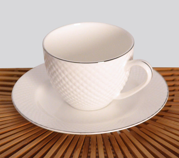 Fine Bone China White Diamond Embossed Cup and Saucer