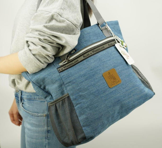 Alice In Wonderland Canvas Laptop Work Tote Bag - Denim
