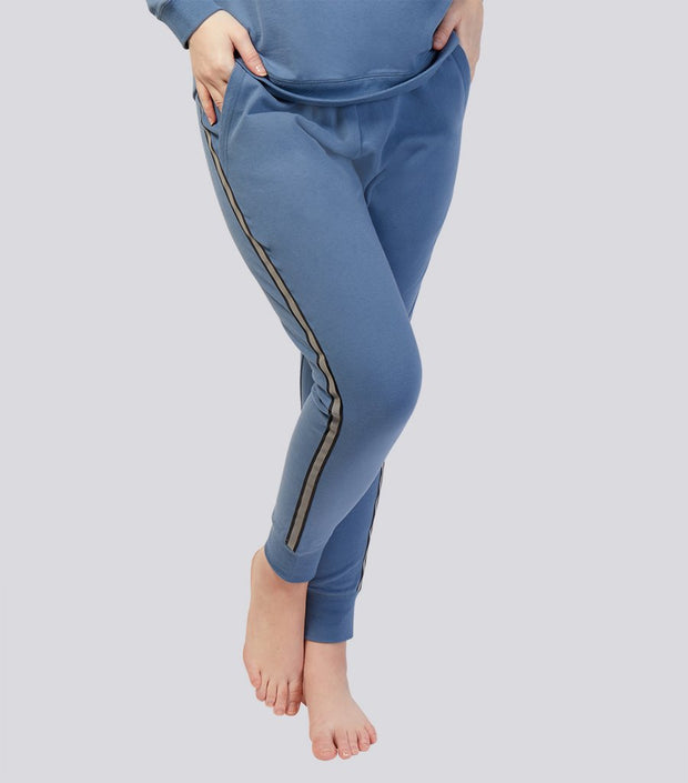 Brushed Fleece Soft Cotton Track Pant - Denim Blue