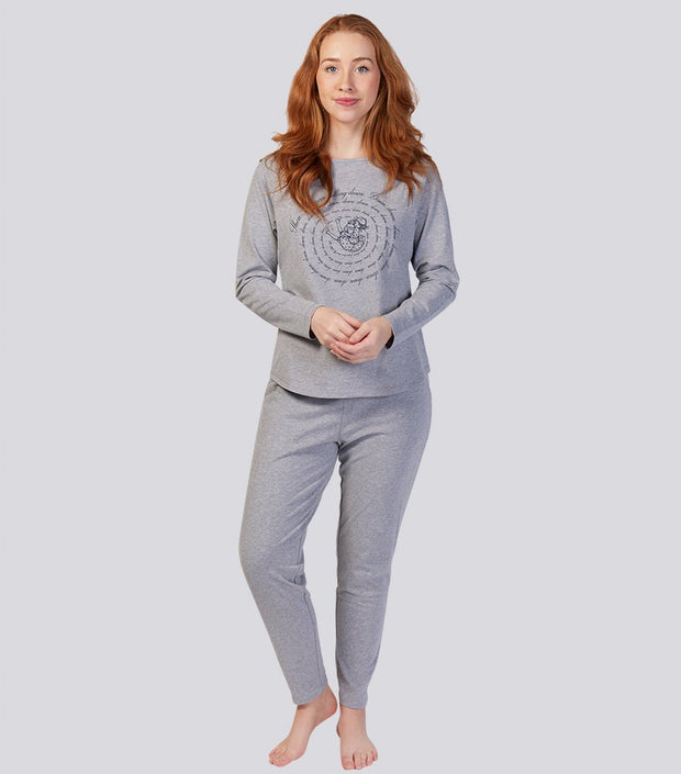 Alice in Wonderland Grey Marle Soft Cotton Tapered Pant