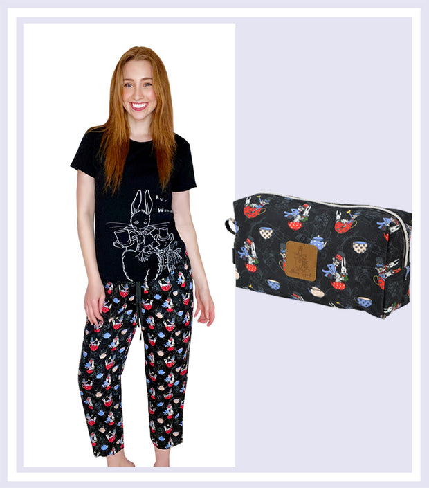 Summer Gift Set - Ladies The Mad Hatter T-shirt 3/4 Pant Set & Mad Hatter Large Cosmetic Bag