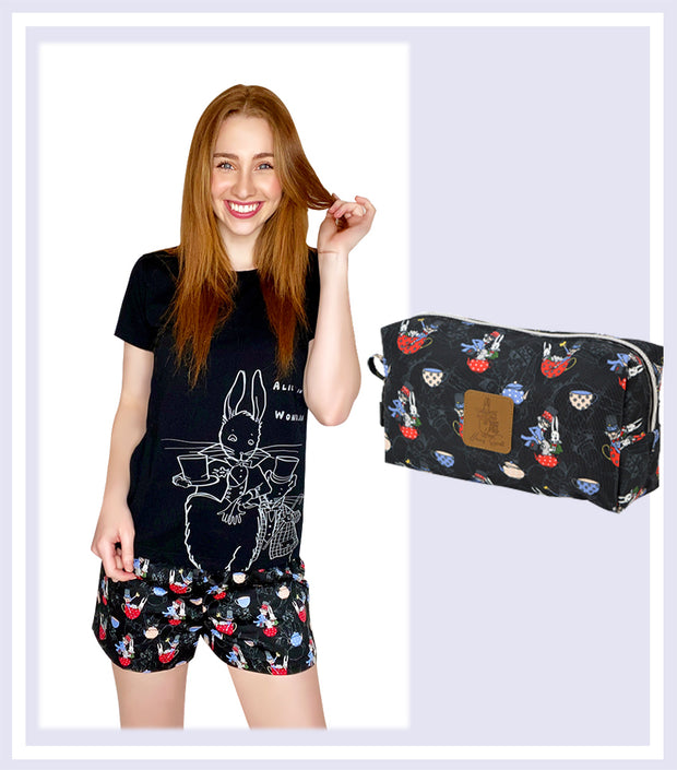 Summer Gift Set - Ladies The Mad Hatter T-shirt Short Set & Mad Hatter Large Cosmetic Bag
