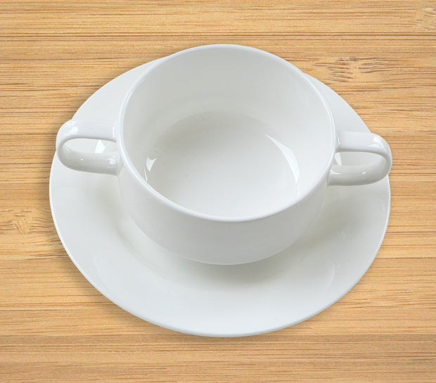Fine Bone China Soup Bowl with Handle