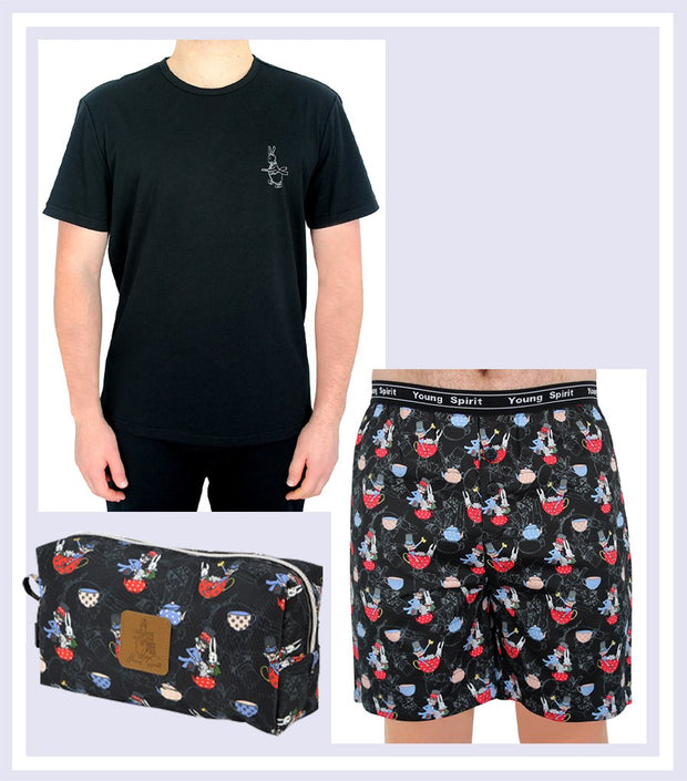 Summer Gift Set - Men The Mad Hatter T-shirt/Short Set & Mad Hatter Large Toiletry Bag