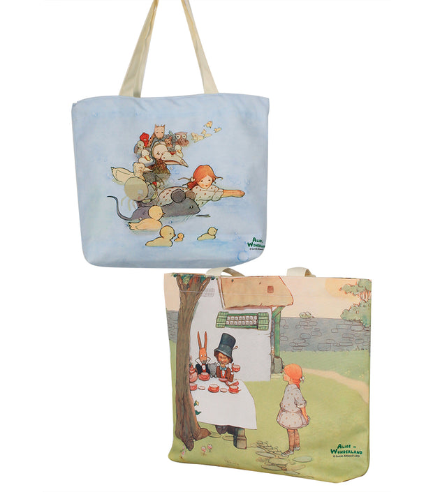 Alice In Wonderland Canvas Daily Tote Shopping Bag - Alice Swimming