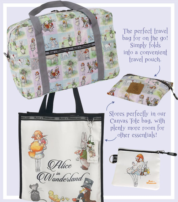 Alice In Wonderland Canvas Multi-Use Tote Bag & Coin and Jewellery Purse & Large Foldable Travel Tote Bag