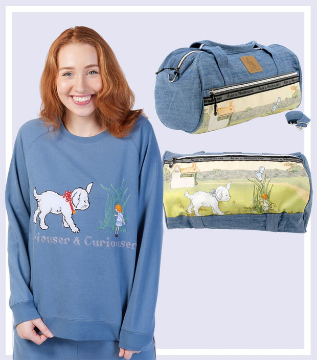 Winter Gift Set - Alice and Dog Denim Heavyweight Soft Cotton Sweater & Denim Carry On Duffle Bag